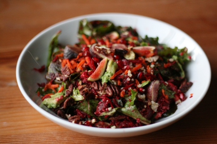 Baby kale autumn salad with figs and pomegranate