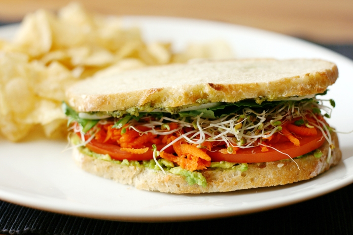 California veggie melt sandwich on alickofsalt.com
