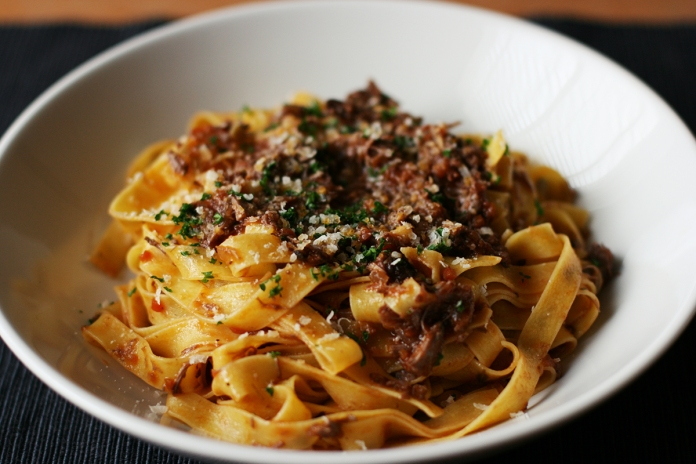 Braised duck and red wine ragu pasta