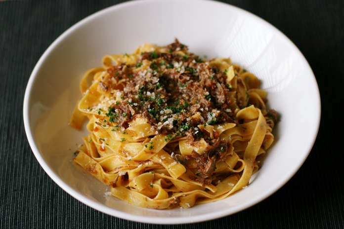 Braised duck and red wine ragu pasta at alickofsalt.com